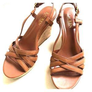 Cute Ralph Lauren Leather upper wedge sandals 8m